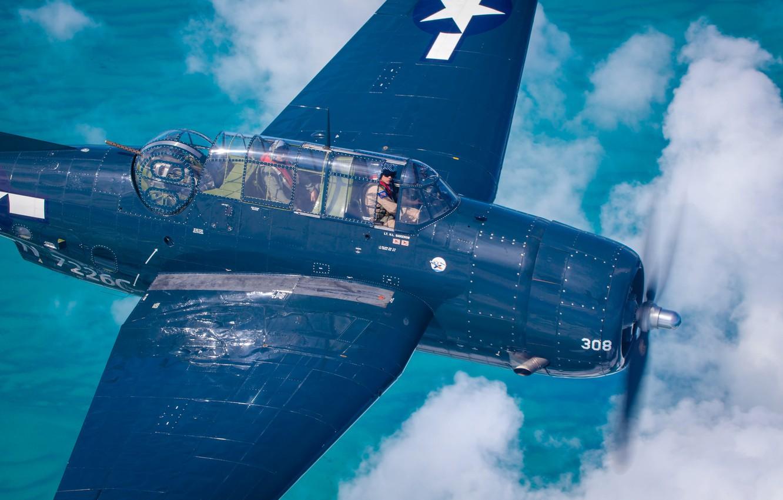 Photo wallpaper Screw, Shooter, Turret, Pilot, The Second World War, Avenger, Grumman TBF Avenger, Cockpit, US NAVY, …