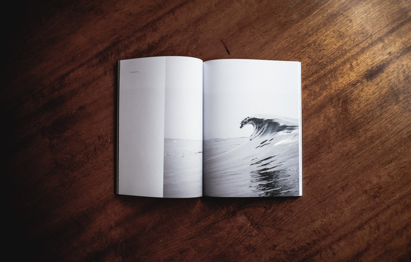 Photo wallpaper table, figure, wave, book