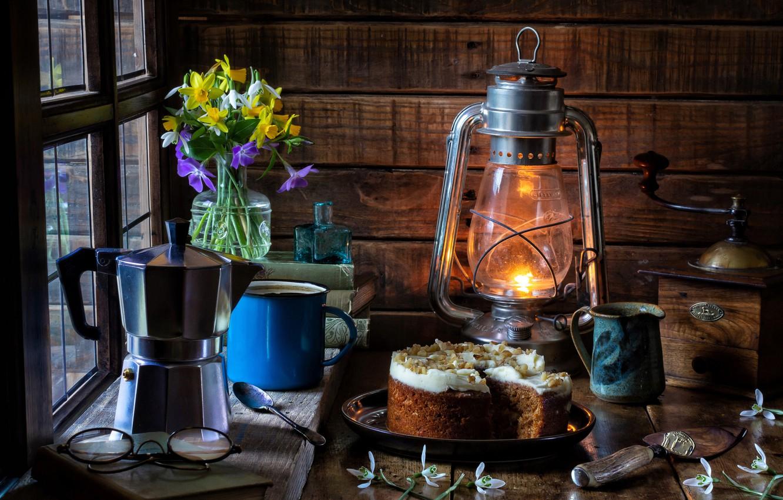 Photo wallpaper flowers, style, books, lamp, glasses, snowdrops, mug, lantern, cake, still life, a bunch, daffodils, coffee …