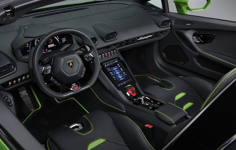 Photo wallpaper Lamborghini, salon, Spyder, Evo, Huracan, 2019, Lamborghini Huracan Evo