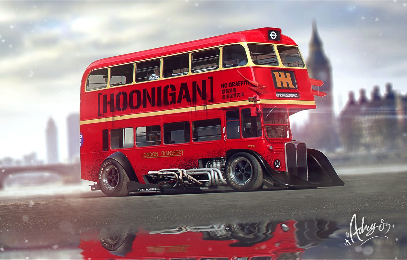 Photo wallpaper Tuning, Bus, London, Transport, London Bus, Vehicles, Hoonigan, Bus, Transport, Transport & Vehicles, by Timothy …