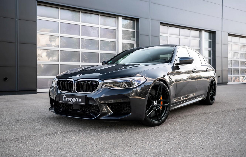 Photo wallpaper BMW, sedan, G-Power, 2018, the wall, BMW M5, four-door, M5, F90, dark gray