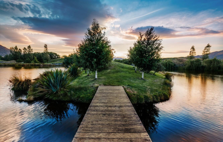 Photo wallpaper Nature, sky, trees, landscape, bridge, clouds, lake, pier