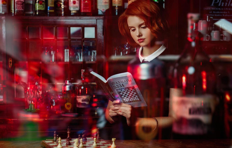 Photo wallpaper girl, chess, book, bottle, red, redhead, tutorial, Janusz Żołnierczyk, Victoria Gajzler