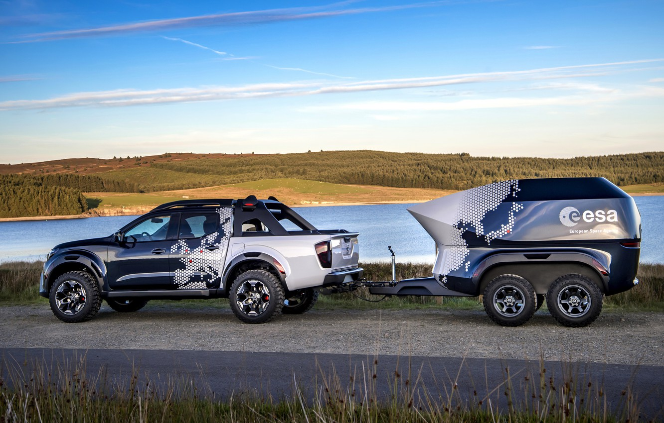 Photo wallpaper shore, Nissan, pickup, the trailer, pond, 2018, Navara, Dark Sky Concept