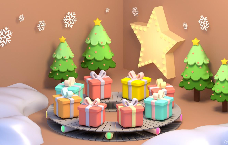 Photo wallpaper rendering, mood, gift, New year, herringbone, snowflake, Christmas gifts, artyu, Tzuyu Kao