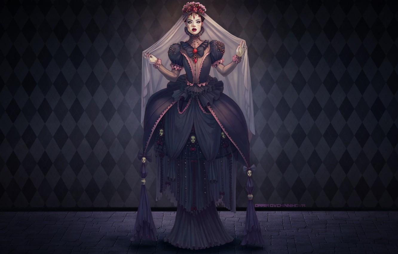 Wallpaper Flowers Dark Dress Witch Death Darkness