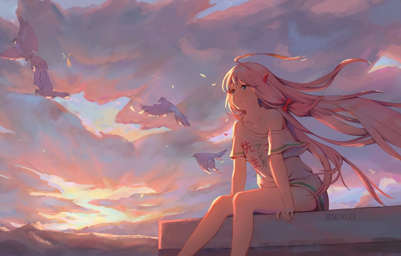 Photo wallpaper roof, the sky, girl, birds, Kobayashi-san Chi no Maid Dragon, Carry Kamui