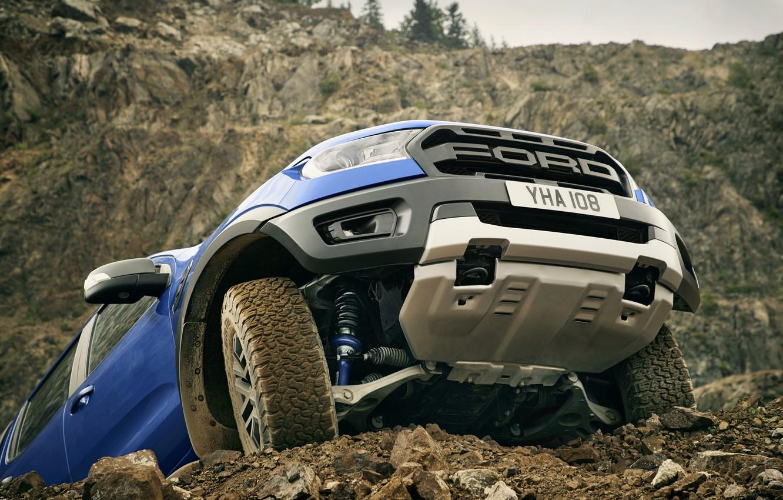 Photo wallpaper blue, Ford, protection, Raptor, pickup, 2018, Ranger, levers