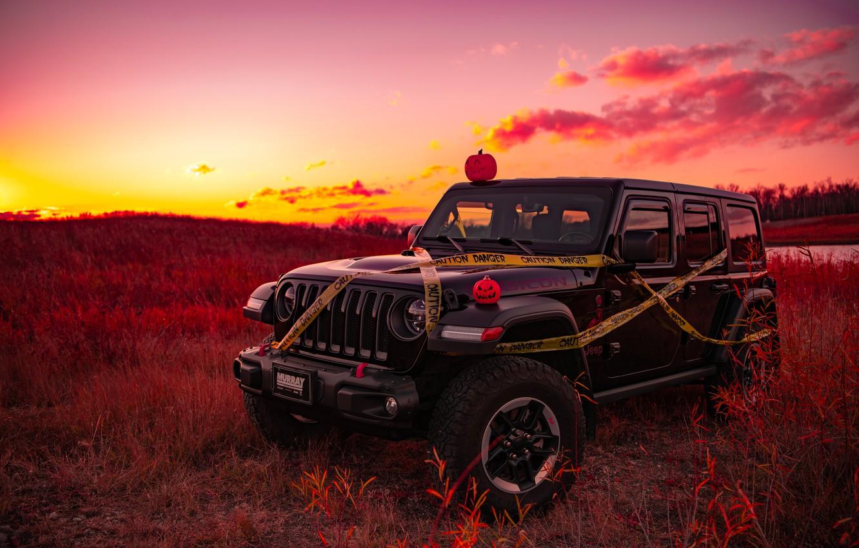 Photo wallpaper sunset, Halloween, jeep, jeep wrangler rubicion