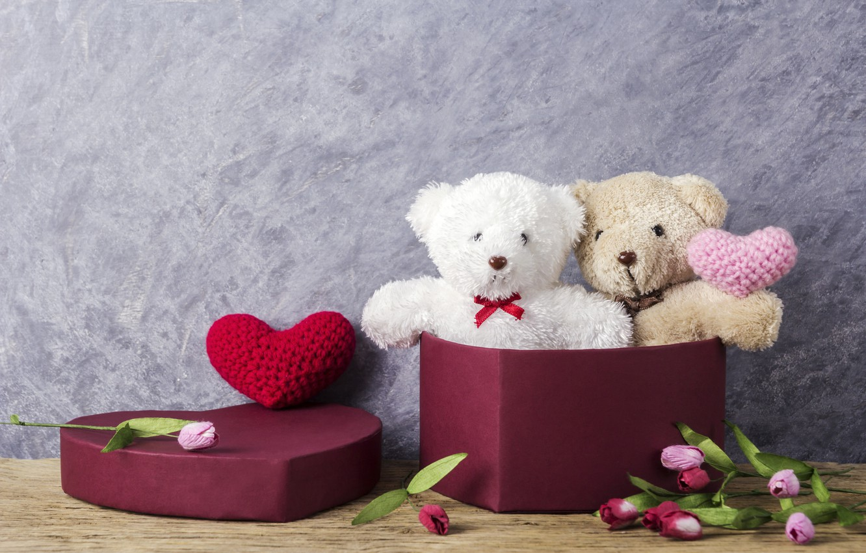 Photo wallpaper love, flowers, gift, toy, heart, bear, tulips, love, pink, bear, heart, wood, pink, flowers, romantic, …