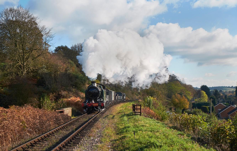 Photo wallpaper smoke, rails, the engine