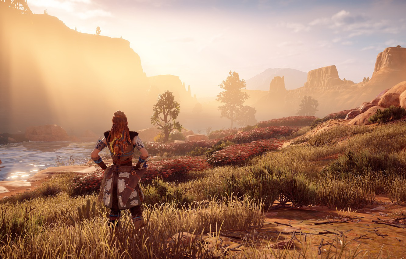 Photo wallpaper the sun, river, rocks, exclusive, Playstation 4, Guerrilla Games, Horizon Zero Dawn, Eloy