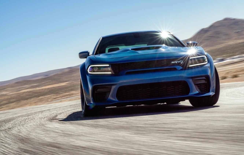 Photo wallpaper Road, Speed, Dodge, Lights, Charger, Hellcat, SRT, 2020, Dodge Charger SRT, Hellcat widebody