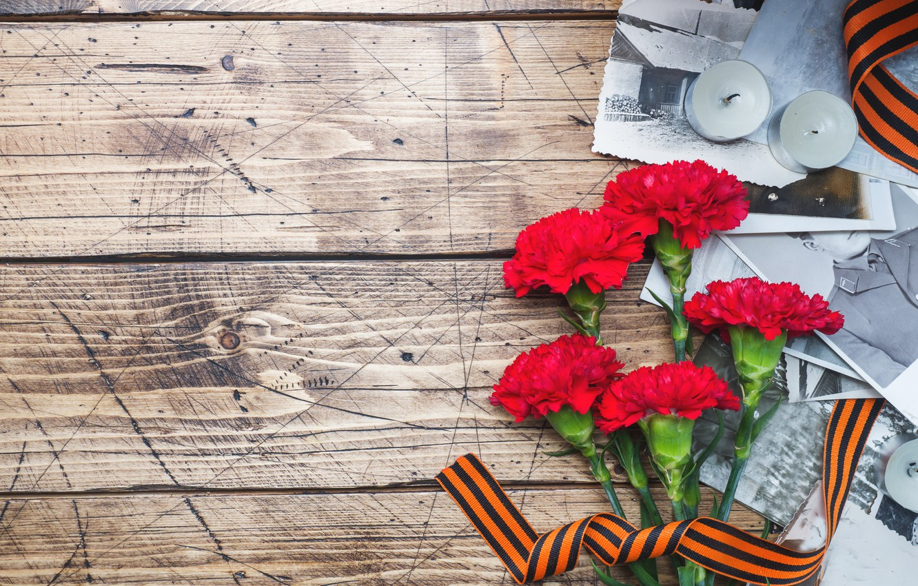 Photo wallpaper flowers, photo, holiday, candles, victory day, St. George ribbon, May 9, carnation