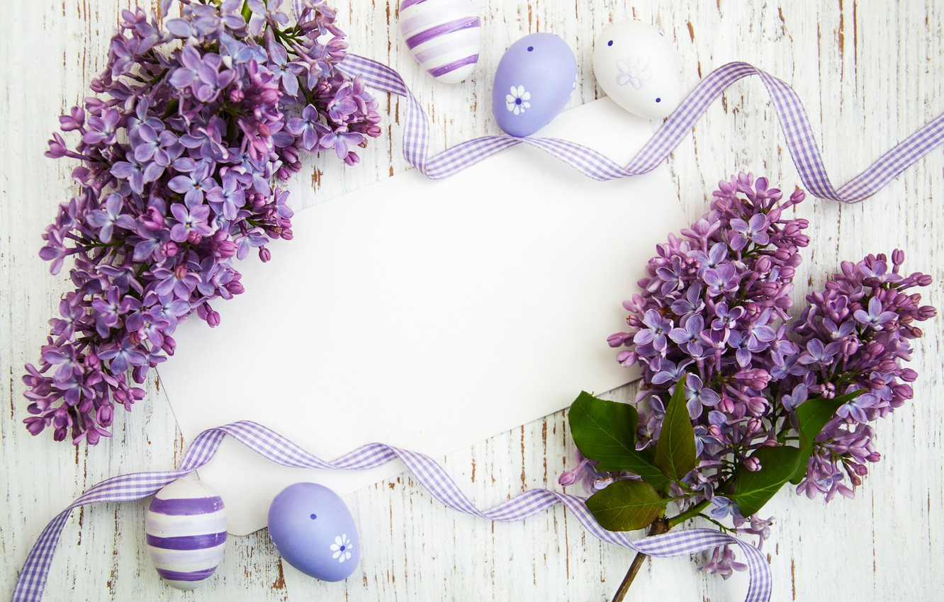 Photo wallpaper flowers, eggs, Easter, happy, wood, flowers, lilac, Easter, purple, eggs, decoration, lilac