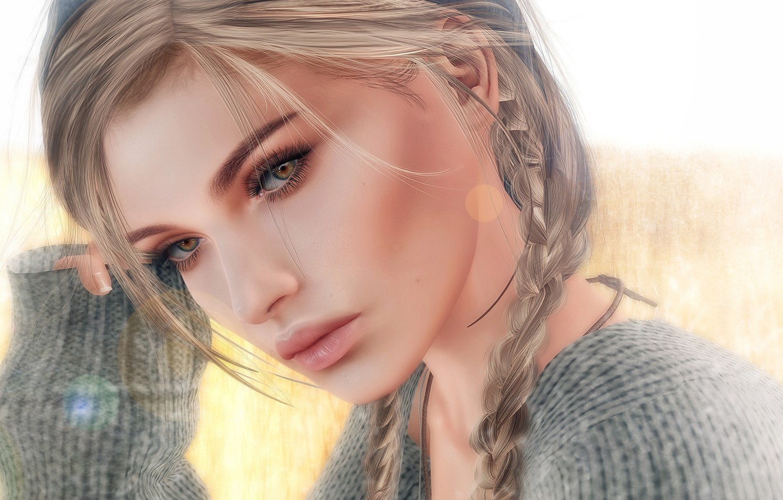 Photo wallpaper Girl, art, mood, braid, lips, face, blonde, digital art, artwork, mouth, sweater, clear eyes
