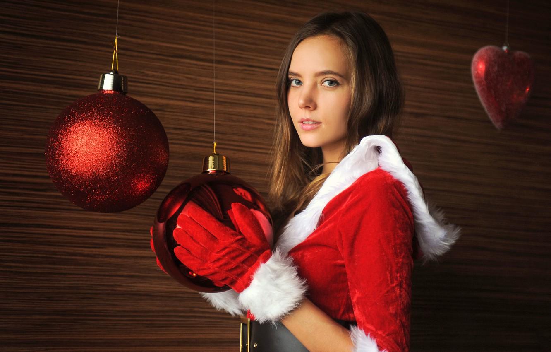 Photo wallpaper look, girl, balls, New year, Katya Clover