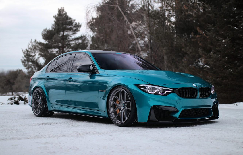 Photo wallpaper BMW, Blue, Winter, Snow, F80, Adaptive LED