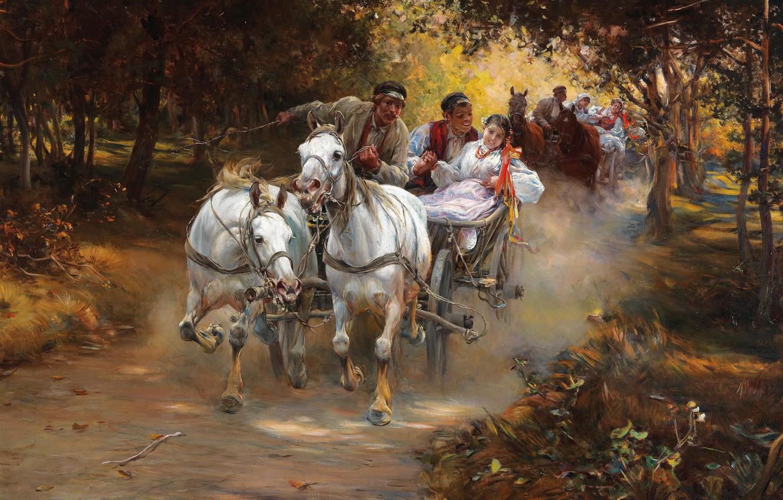 Photo wallpaper Polish realist painter, Rural wedding, Alfred Ian Maximilian Verush-Kowalski, Peasant wedding, Alfred Verush-Kowalski, Alfred Kowalski, …