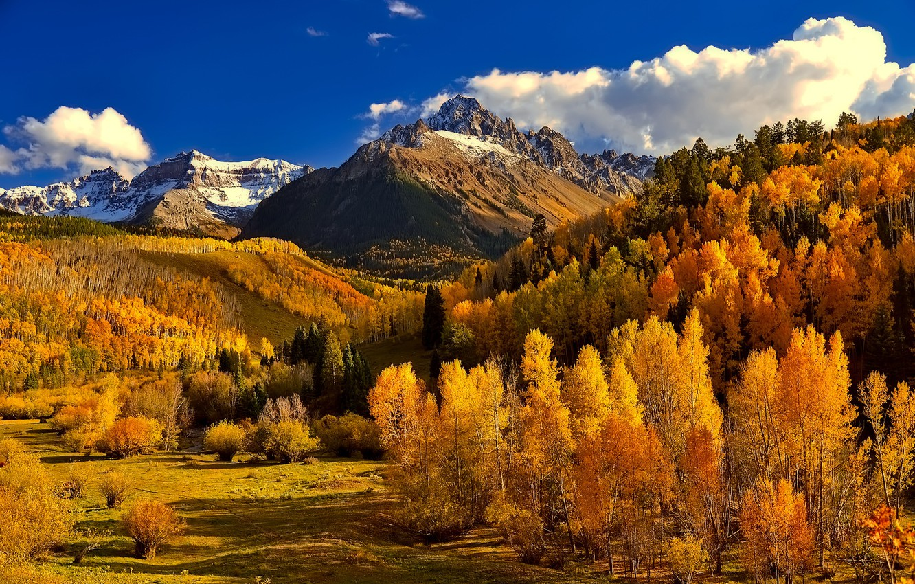 Photo wallpaper autumn, forest, the sky, clouds, mountains, Colorado