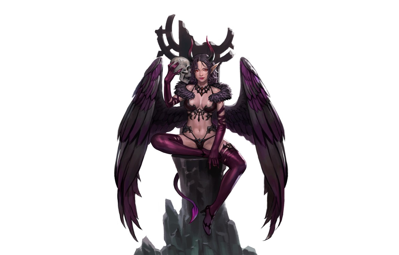 Photo wallpaper Girl, Fantasy, Art, Devil, Style, Sake, Background, Minimalism, Succubus, Wings, Horns, Figure, Character, Kim Sunhong
