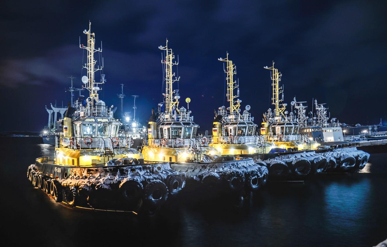 Photo wallpaper winter, night, pier, port, Russia, tugs, The Barents sea
