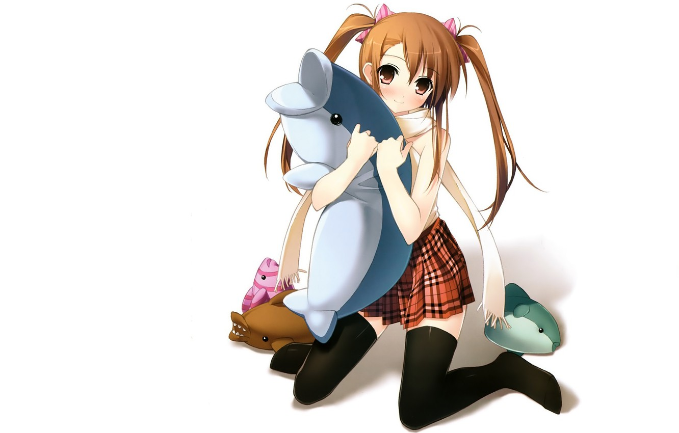 Photo wallpaper Dolphin, on my knees, black stockings, two tails, soft toys, redhead girl, by kantoku, skirt …