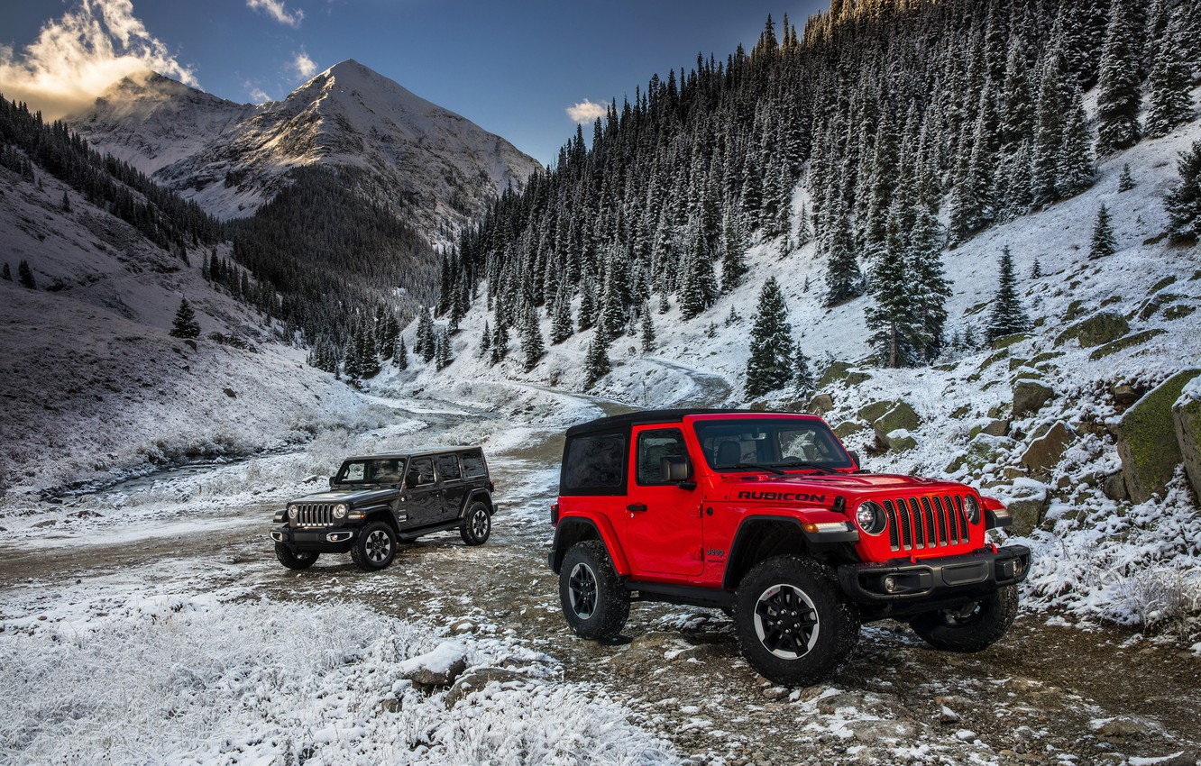 Photo wallpaper snow, mountains, red, 2018, Jeep, dark gray, Wrangler Rubicon, Wrangler Sahara