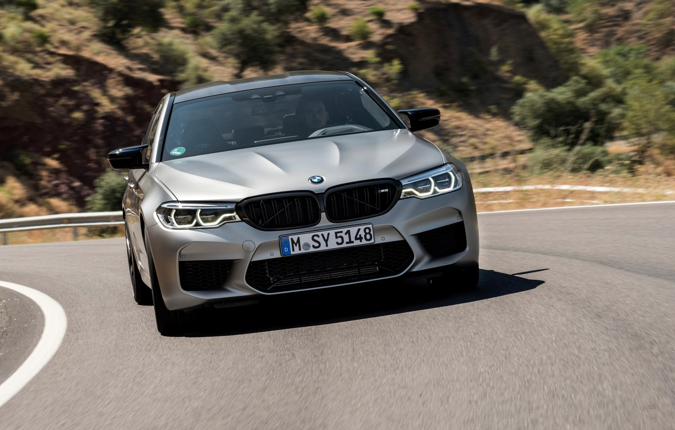 Photo wallpaper grey, BMW, sedan, 4x4, 2018, four-door, M5, V8, F90, M5 Competition, on a mountain road