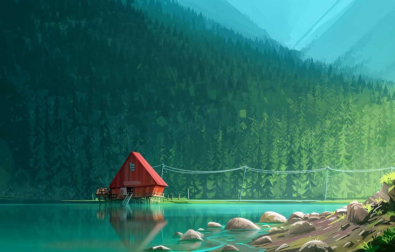 Photo wallpaper Water, Reflection, Mountains, Lake, River, Mountain, Forest, House, House, Tree, Art
