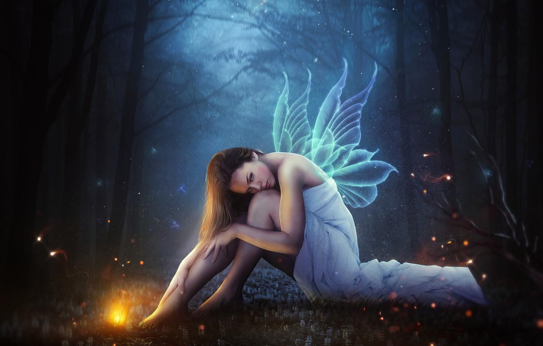 Photo wallpaper Girl, Forest, Wings, Fairy, Fantasy, Art, Art, Night, Fiction, Hosne Qanadelo, by Hosne Qanadelo, Fairy …