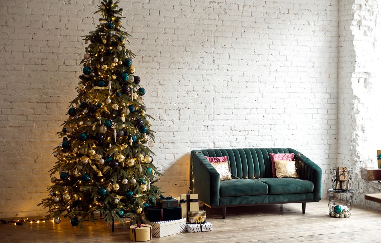 Photo wallpaper sofa, tree, interior, gifts, New year, garland