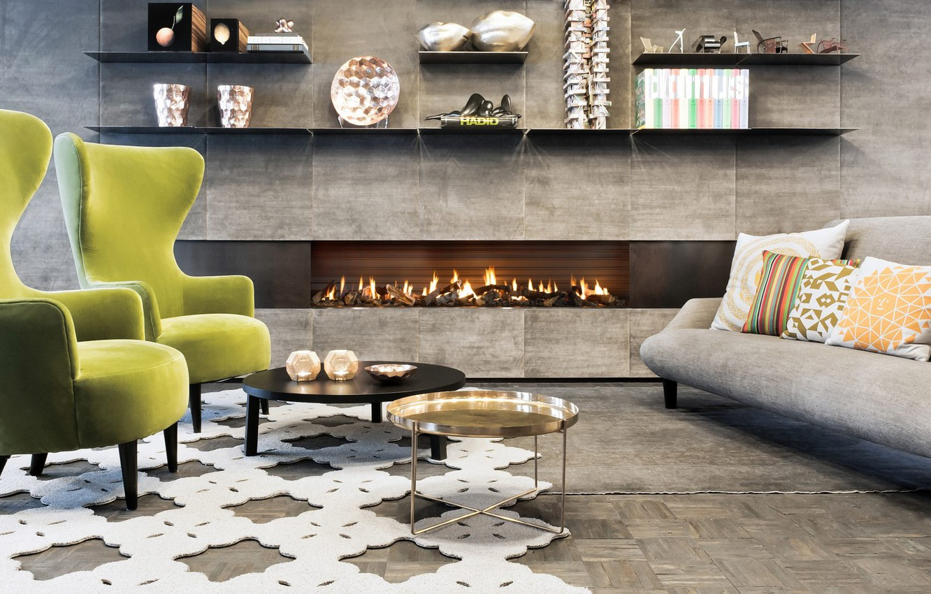 Photo wallpaper interior, chairs, fireplace, living room