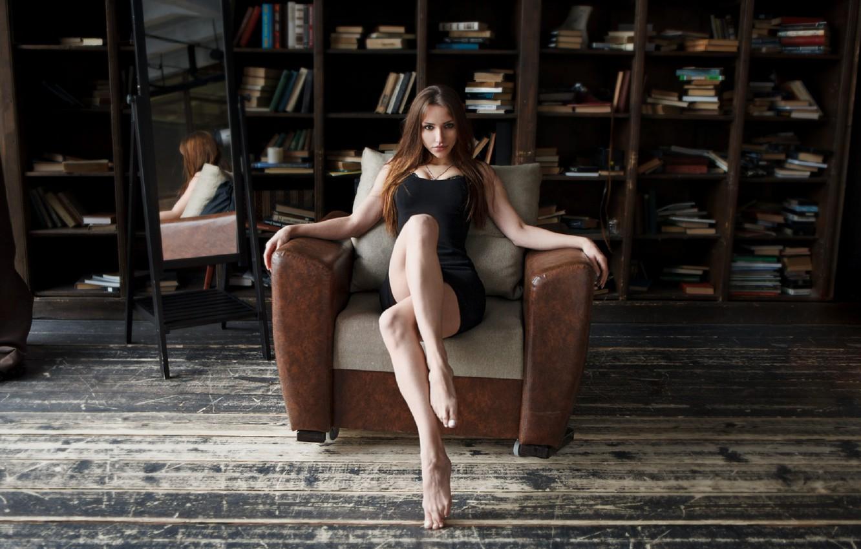 Photo wallpaper girl, pose, brunette, legs, Vasiliy Zhukov
