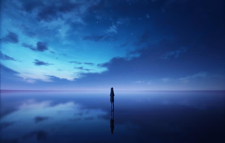 Photo wallpaper the sky, water, girl, night