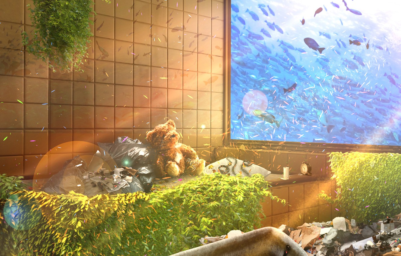 Photo wallpaper glass, fish, garbage, Teddy bear, abandoned room