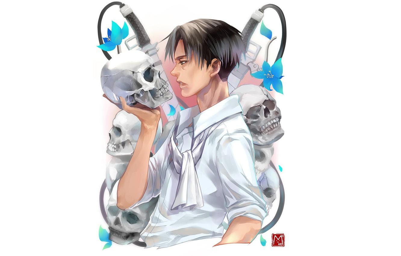 Photo wallpaper skull, guy, Attack Of The Titans, Shingeki No Kyojin, corporal Levi, Levi