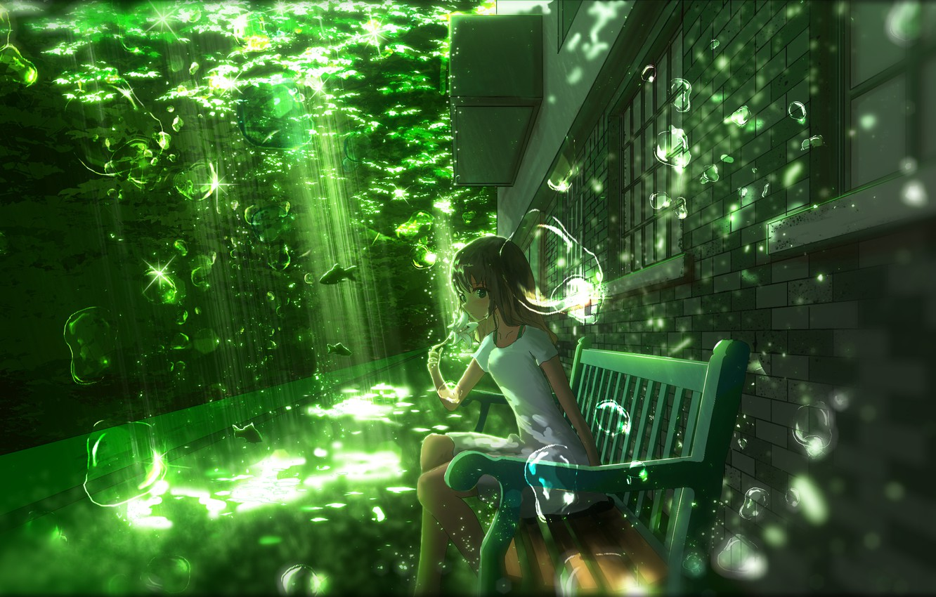 Photo wallpaper girl, bench, Lily, fish, under water, by Y_Y