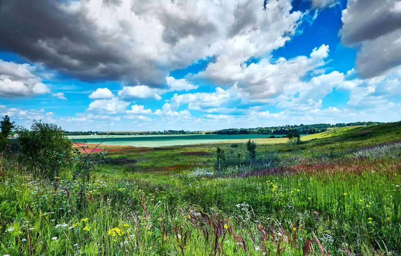 Photo wallpaper clouds, landscape, nature, field, grass, meadows