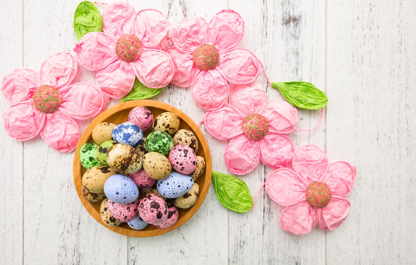Photo wallpaper flowers, eggs, Easter, happy, flowers, eggs, easter, decoration