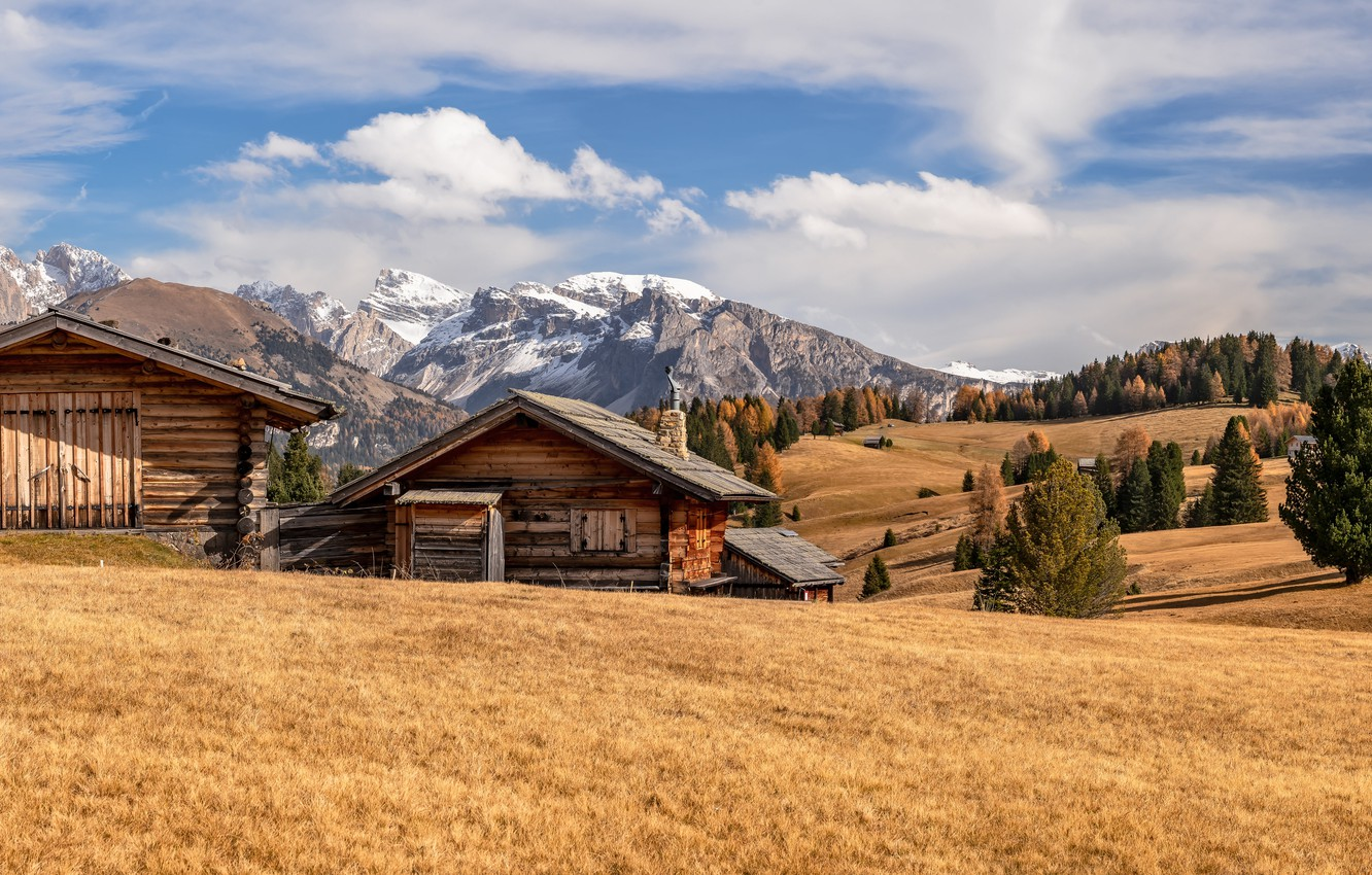 Photo wallpaper Italy, autumn, Dolomite Alps, South Tyrol