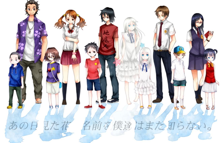 Photo wallpaper Unprecedented Flower, Meiko Honma, Jinta Yadomi, Chiriko Tsurumi, Tetsudou Hisakawa, Naruko Anjou, Atsumu Matsuyuki