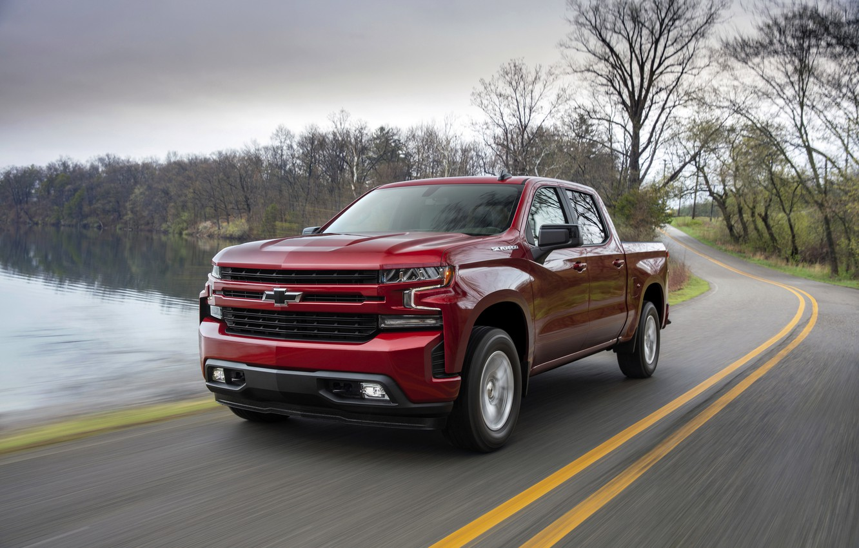 Photo wallpaper red, Chevrolet, pickup, pond, Silverado, 2019, RST