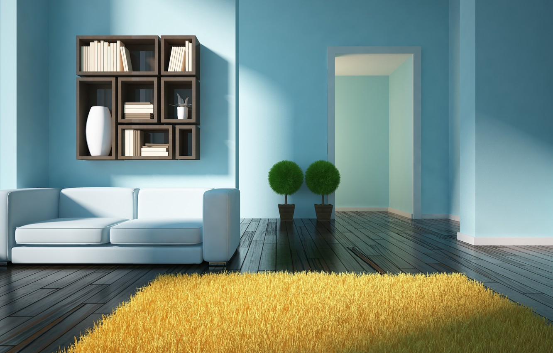 Photo wallpaper design, sofa, carpet, interior, living room, modern