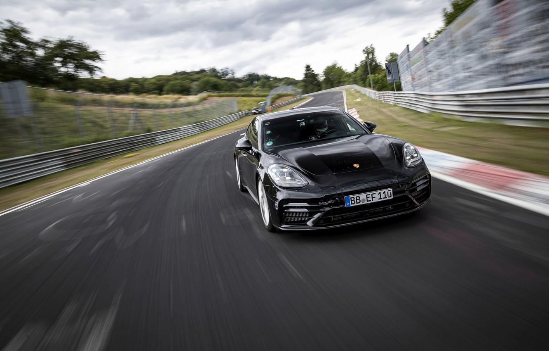 Photo wallpaper black, Porsche, Panamera, track, The Nürburgring, 2020, Nordschleife, предсерийный
