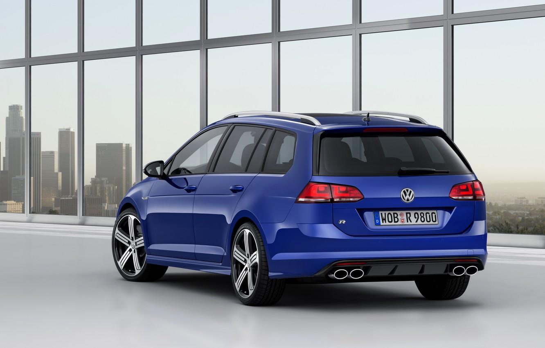 Photo wallpaper blue, Volkswagen, universal, 2014, pipes, Golf R Estate