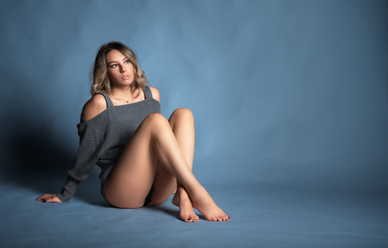 Photo wallpaper girl, face, model, figure, legs, Eleonora