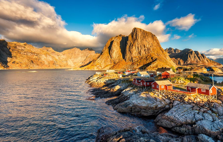Photo wallpaper clouds, light, landscape, mountains, nature, blue, rocks, Norway, houses, pond, the village, blue sky, rocky ...