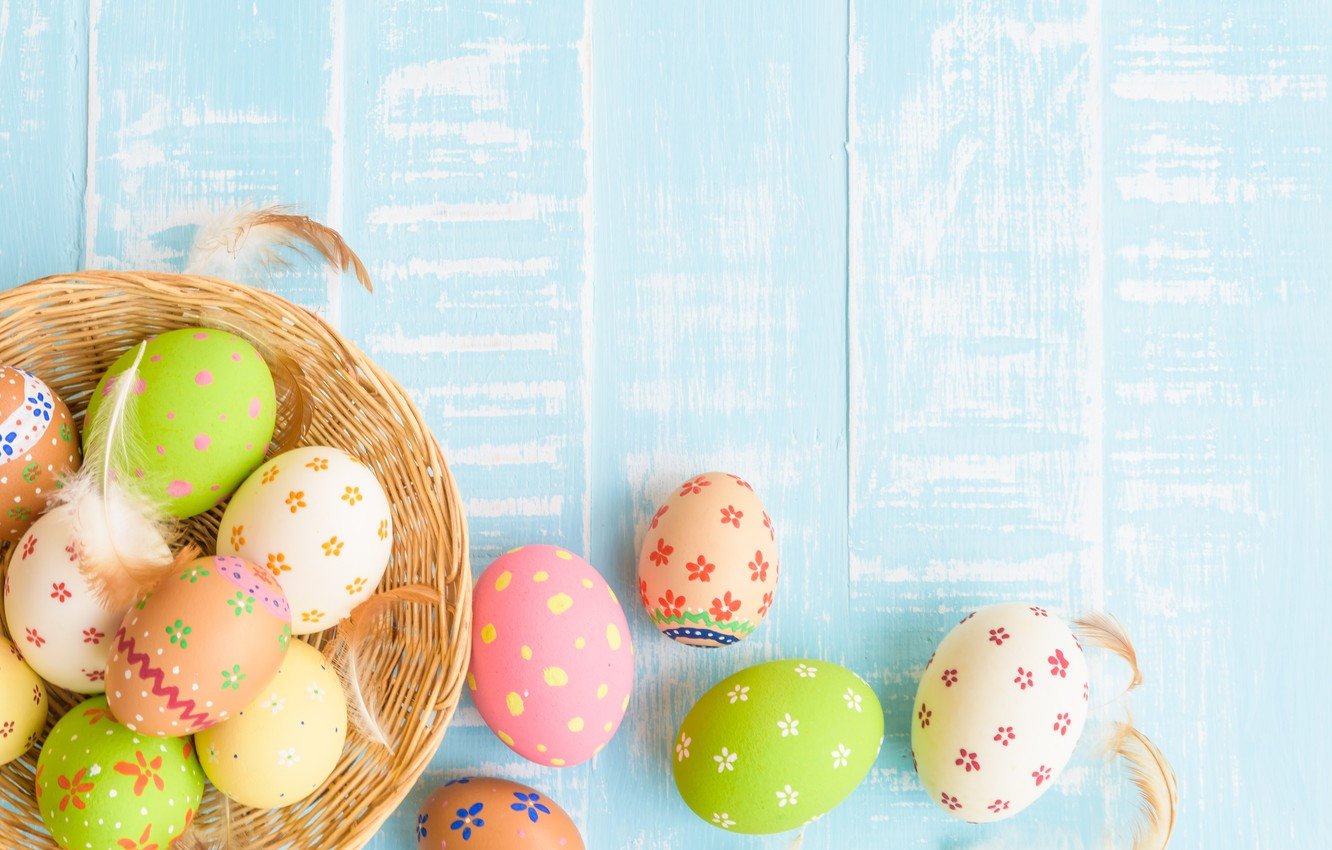 Photo wallpaper eggs, Easter, happy, wood, blue, eggs, easter, decoration